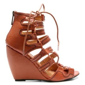 2 Lips Too Shoes - 2 Lips Too Vavoom Wedge Sandal Brown Laced Up 8.5