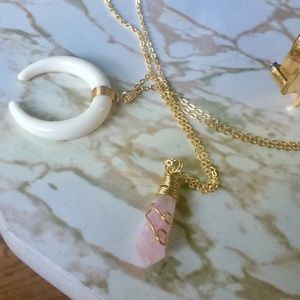 Jewelry - Gold Wire Wrapped Raw Rose Quartz Necklace Trendy