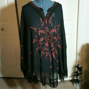 Antthony Tops - BOGO Curvy Size Embroidered Poncho Top (2X)