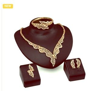 4 pc 18k Gold Plated Mosaic Gem Jewelry Set