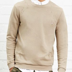 Forever 21 men's distressed pullover French Terry
