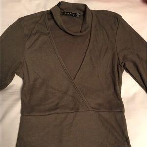 Boohoo Tops - BOOHOO Green Collared Bodysuit