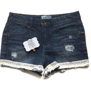 Jolt Jean Shorts with crochet trim