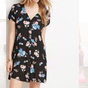 Black short sleeve floral button up dress