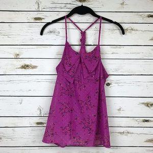 Xhilaration Tops - Xhilaration Purple Floral Print Ruffle Top
