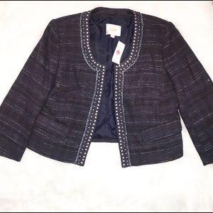 LOFT Jackets & Blazers - NWT Ann Taylor Loft Navy Tweed Blazer.  Size 8.