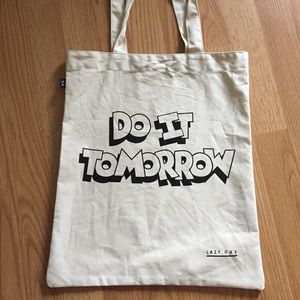 "Handbags - Lazy oaf tote bag ""do it tomorrow"""