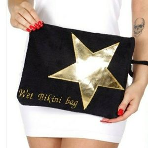 Handbags - Sale*Bikini bag, waterproof,  black with gold star