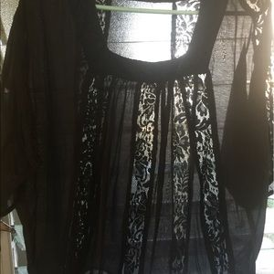 Alythea Tops - Alythea Black Sheer and Lace Women's Top