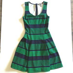 Halston Heritage blue/green striped dress