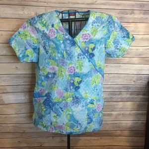 Dickies Tops - Turquoise floral scrub top