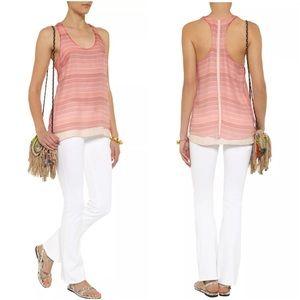 rag & bone Tops - Rag & Bone Pink Striped Seymour Racerback Silk Top
