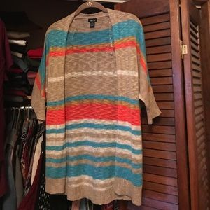 Striped open fly cardigan
