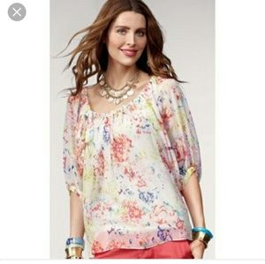 CAbi Tops - CABI FLORAL WATERCOLOR TOP STYLE 826