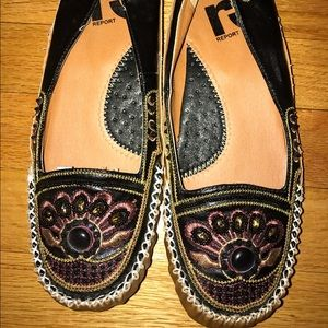 Report Shoes - Report jeweled and sewn slip on flats.