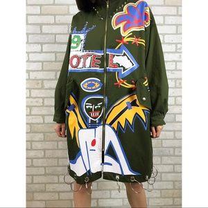 Jackets & Blazers - Oversized long graffiti jacket