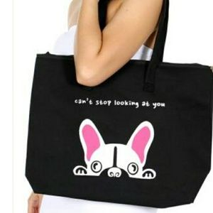"Handbags - Canvas shoulder bag, ""can't stop looking at you""."
