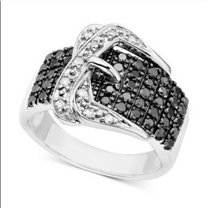 Macy's Jewelry - Sterling Silver, Black & White Diamond Buckle Ring