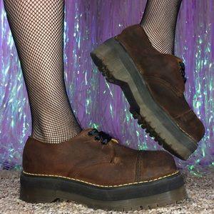 Dr. Martens Shoes - Vintage Dr. Martens Brown Leather Platform Oxfords