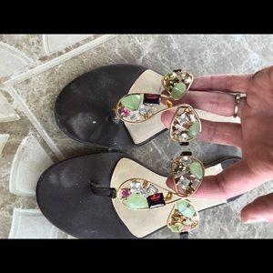 Alexandra Neel Shoes - Alexandra Neel Chocolate Jeweled Flat Sandals