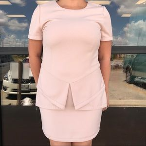 BCBG Pale Pink Peplum Dress