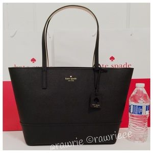 New Kate Spade black saffiano leather zip tote