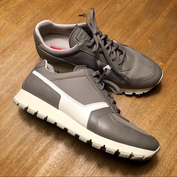 Prada Women s Gray   White Leather Sneakers Sz 8. M 5949f301c284567d9705f843 211a5a73fd