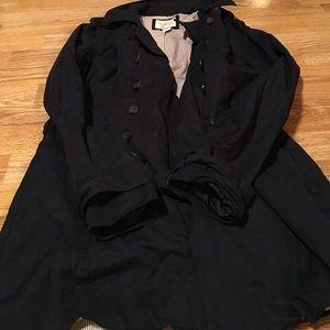 Small navy blue short tench coat