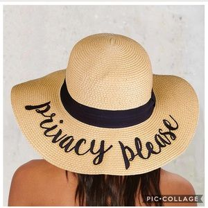 Privacy Please Embroidered Sun Straw Hat