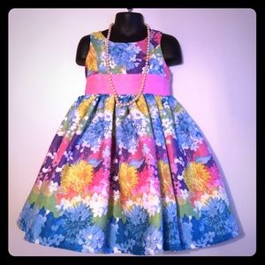 Little Miss Other - Toddler colorful bright Floral princess dress 4T