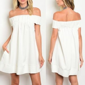 LILY Off Shoulder Dress - IVORY