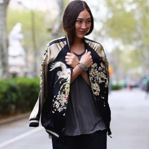 7240d14c2 Rare Zara Satin Embroidered Bird Reversible Bomber
