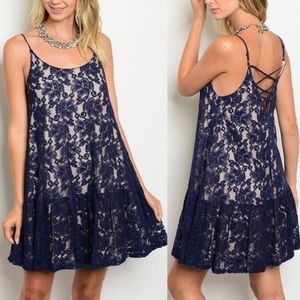 TRINH Floral Lace Dress - NAVY