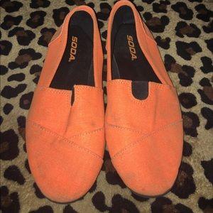Soda Shoes - Loved Neon orange soda slip ons