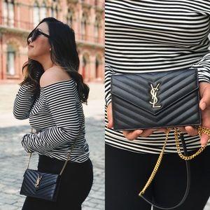Yves Saint Laurent Handbags - YSL MONOGRAM ENVELOPE CHAIN WALLET IN BLACK GRAIN