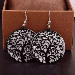 Jewelry - New!! Tree Of Life Earrings Black & Silver Shimmer