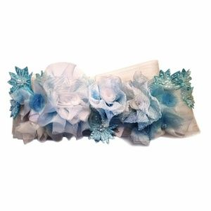 ice queen floral bridal sash wedding belt blue dye