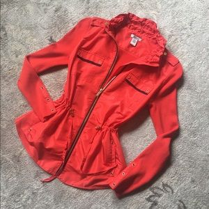 Cache red-orange zip up jacket.  S