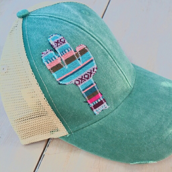 Boho Distressed Womens Trucker Hat Serape Cactus 68178be39a7a