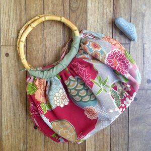 J. Jill Handbags - Fabric floral boho purse w/bamboo handles