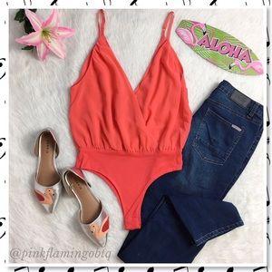 Tops - NWT Orange Red Chiffon Deep V Bodysuit M