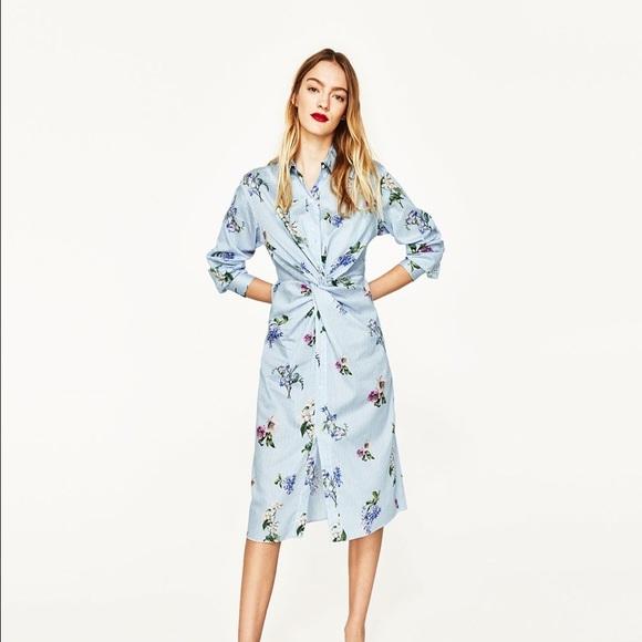 f8c49abcefc76d Zara Flower and Stripe Shirt Dress