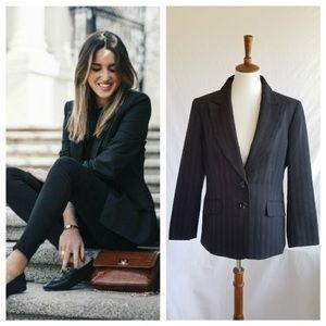 Le Suit Black Pinstripe Vintage Blazer