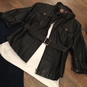 solitaire Jackets & Blazers - Dark Brown Faux Leather Jacket