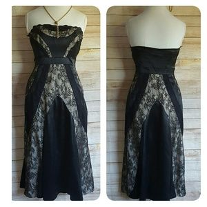 Oasis Dresses & Skirts - Oasis Fit & Flare Strapless Dress Black Lace Sz 12