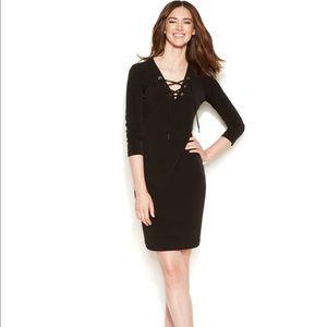 Womens Calvin Klein 8 black lace up grommet dress