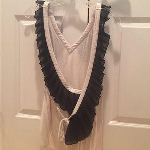 Asos cream and black ruffle shirt