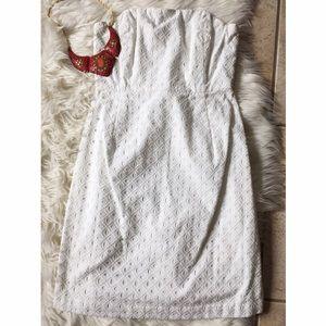 •Vineyard Vines• White Strapless Eyelet Mini Dress