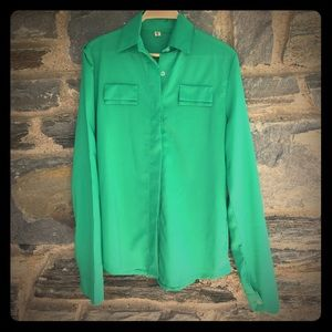 bc76e78600f4 ... ROMWE ☘ NEW ✨Kelly Green Collared Blouse ...