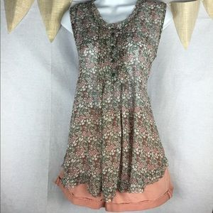 Myths Tops - Floral baby doll tank